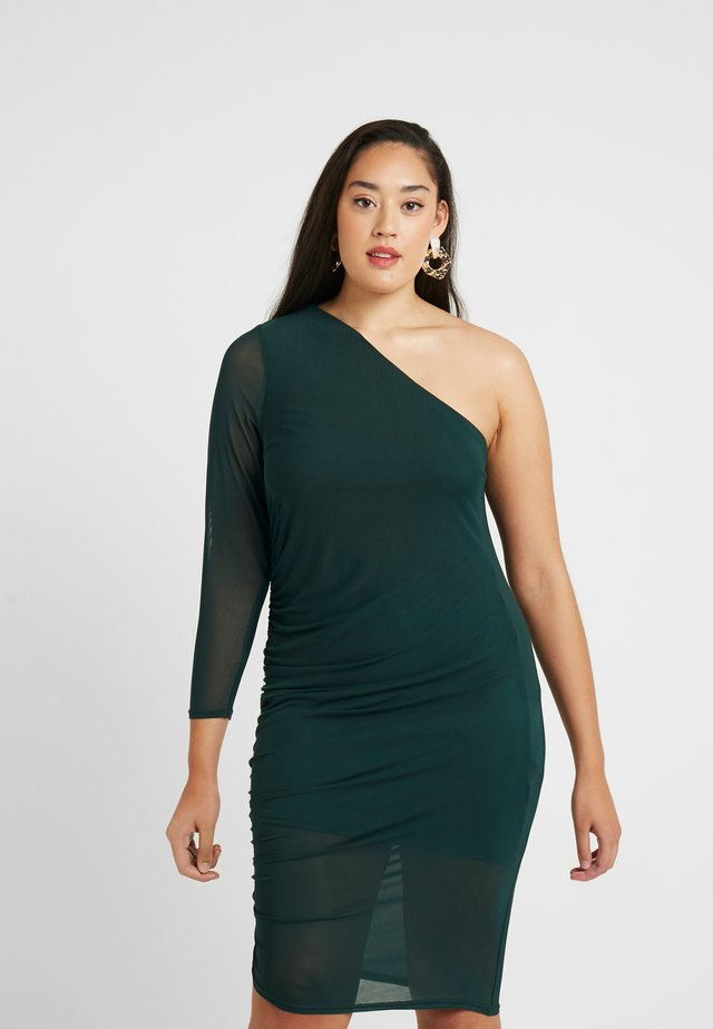 RUCHED SIDE ONE SHOULDER BODYCON DRESS - Day dress - green