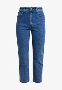 Abercrombie & Fitch - MARBLED ULTRA HIGH RISE ANKLE - Straight leg jeans - dark blue denim - 4