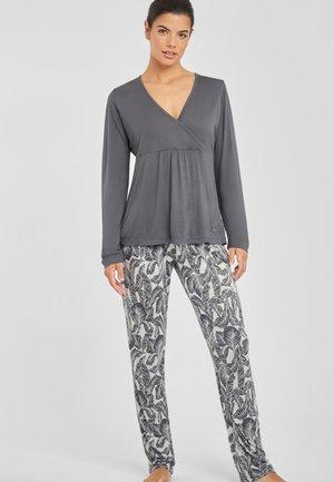 Pyjama set - grau-gemustert