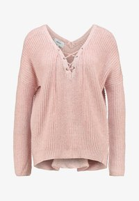 ONLY - ONLPEYTON LACE UP - Strickpullover - rose dawn/w. white melange - 5