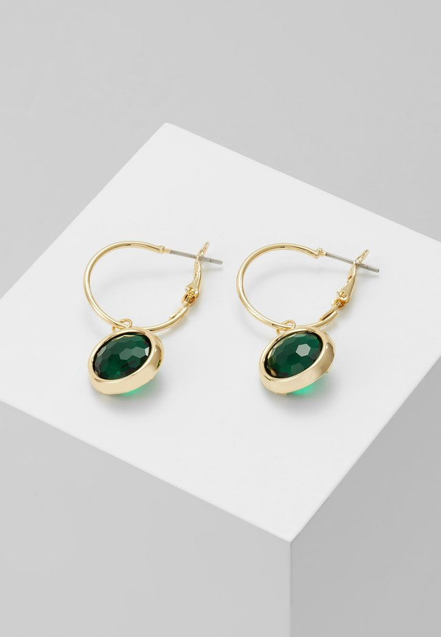 ELDINA SMALL ROUND EAR - Kolczyki - gold-coloured/green