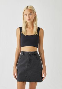 PULL&BEAR - A-line skirt - black denim - 3