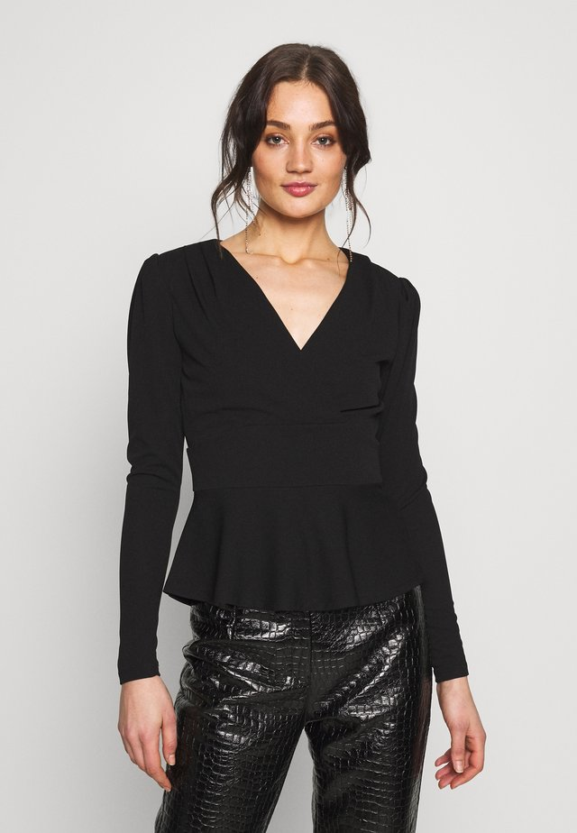 PUFF SLEEVE WAISTED - Langærmede T-shirts - black