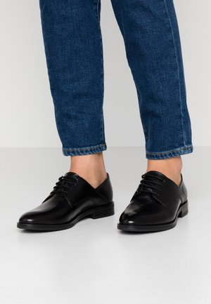 LEATHER LACE-UPS - Oksfordki - black