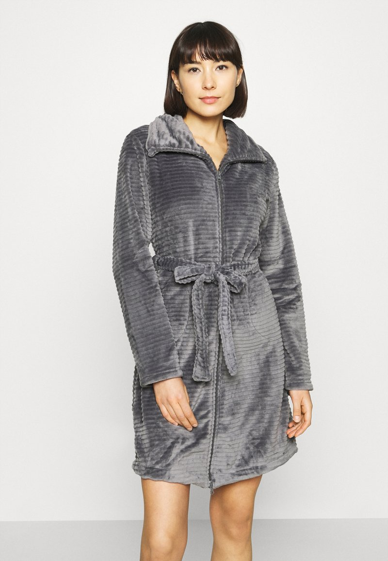 Hunkemöller - ROBE ZIP EMBOSSED - Dressing gown - silver grey