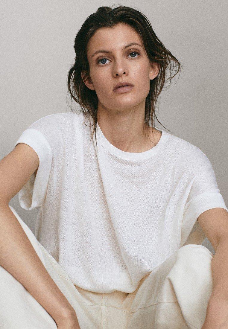 Massimo Dutti - UMSCHLAG  - Basic T-shirt - white