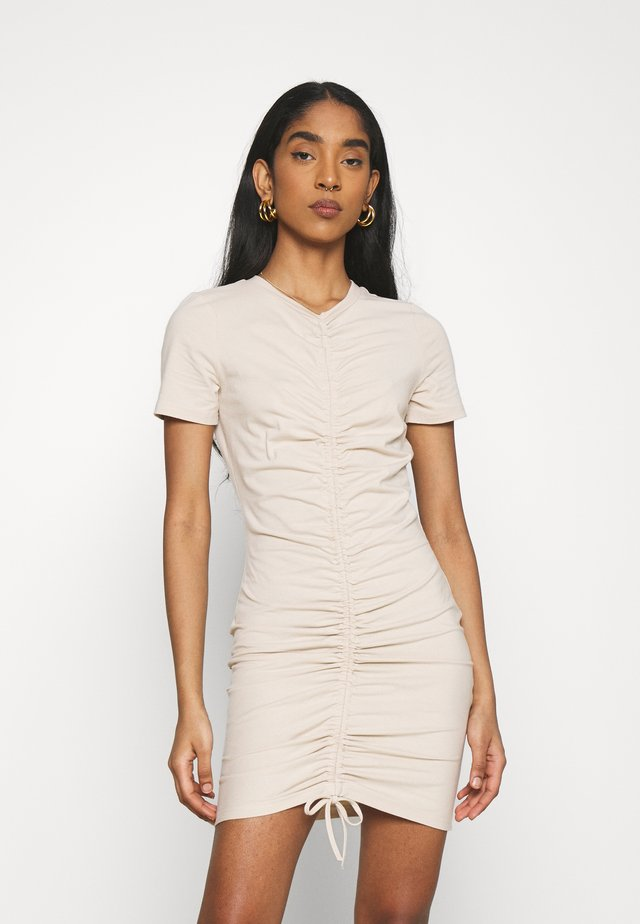 CARE RUCHED MINI DRESSES WITH FRONT TIE DETAIL - Jerseyjurk - light stone