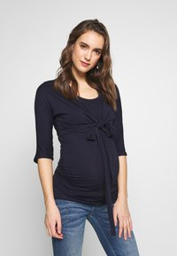 Dorothy Perkins Maternity - PLAIN SLEEVE NURSING BALLET WRAP - Bluzka z długim rękawem - navy - 0