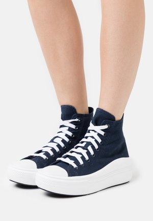 CHUCK TAYLOR ALL STAR MOVE PLATFORM GLOSSY METAL - Sneakersy wysokie - obsidian/pure silver/white