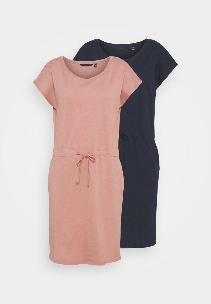 Vero Moda Tall - VMAPRIL SHORT DRESS 2 PACK - Jersey dress - navy blazer/old rose