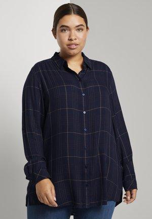 Button-down blouse - navy gipsy camel check