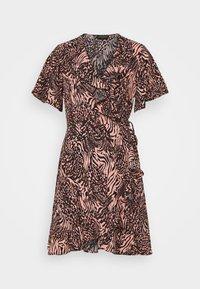Colourful Rebel - TELSI ZEBRA SHORTSLEEVE REAL WRAP DRESS - Day dress - pink - 0