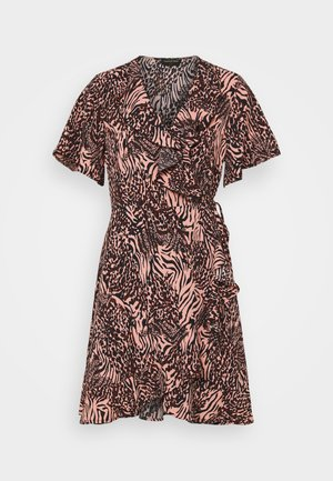 TELSI ZEBRA SHORTSLEEVE REAL WRAP DRESS - Day dress - pink