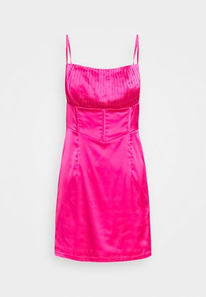 PLEAT DETAIL STRAPPY BODYCON MINI DRESS - Koktejlové šaty / šaty na párty - pink