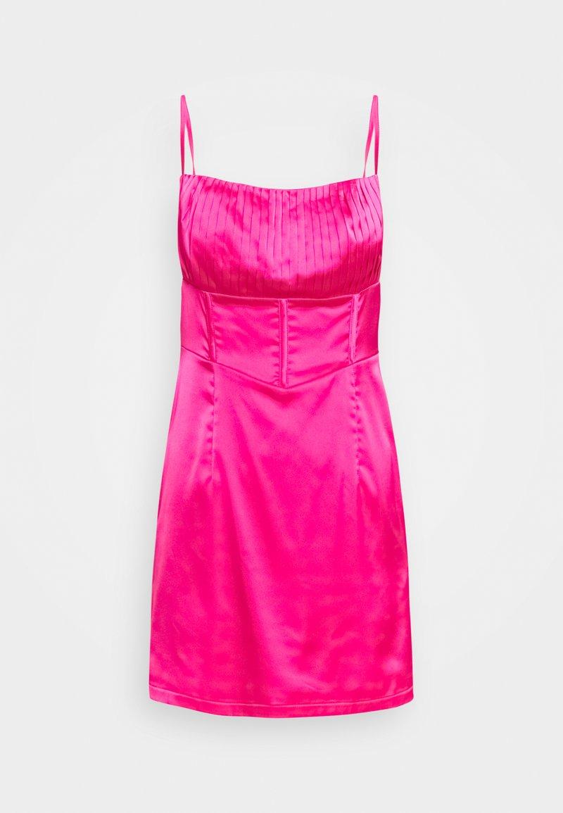 Missguided Petite - PLEAT DETAIL STRAPPY BODYCON MINI DRESS - Vestito elegante - pink
