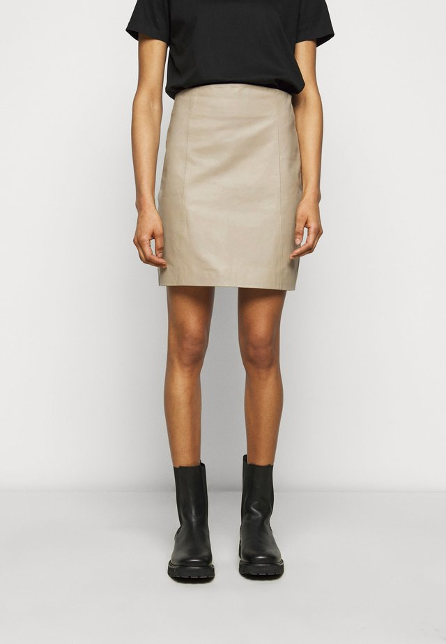 ELECTRA - Leather skirt - chickpea