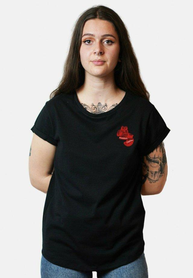 FREEDOM - T-shirt imprimé - black