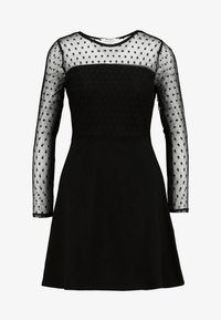 Dorothy Perkins Petite - DOBBY FIT AND FLARE DRESS - Jerseykjole - black - 4