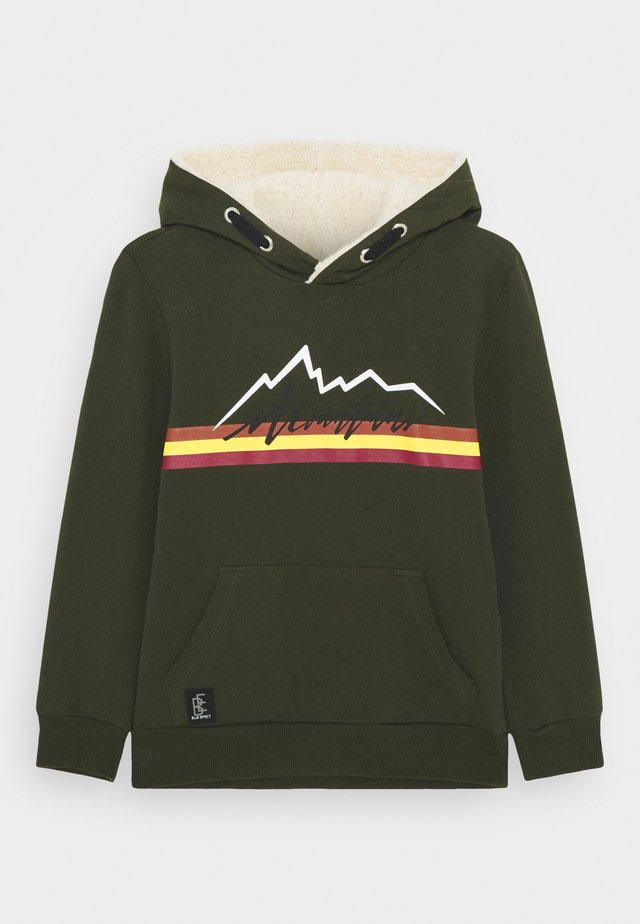 BOYS HOODIE MOUNTAINS - Hoodie - army green reactive