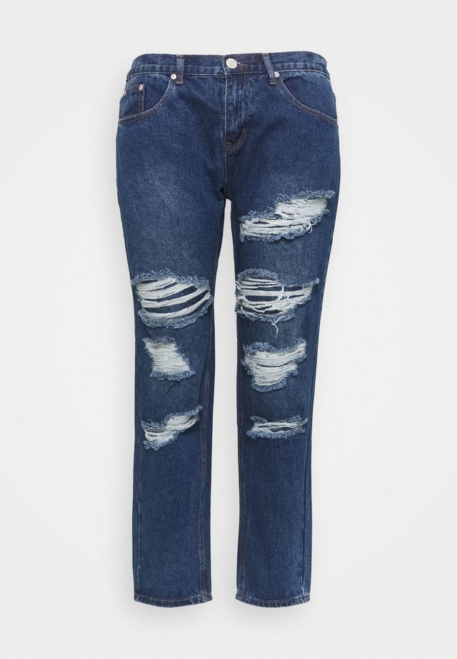 RIPPED CECE - Relaxed fit -farkut - dark blue wash