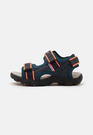 JR STRADA - Walking sandals - navy/fluo orange