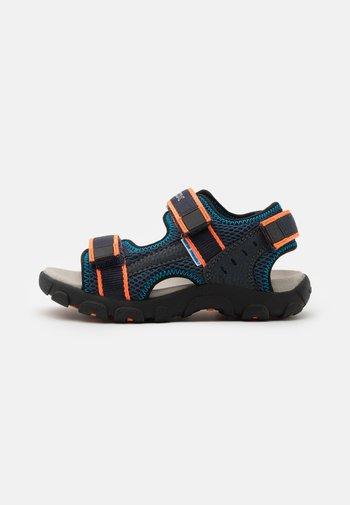 JR STRADA - Walking sandals - navy/fluo orange