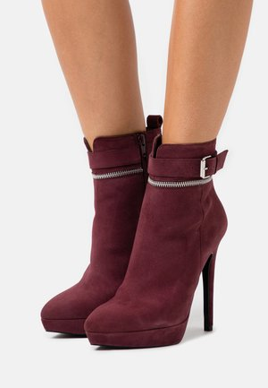 LEATHER - High heeled ankle boots - bordeaux