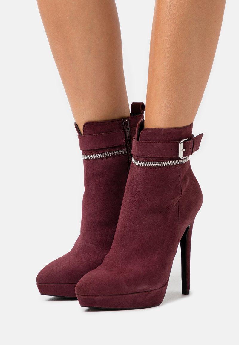 Even&Odd - LEATHER - Kotníková obuv na vysokém podpatku - bordeaux
