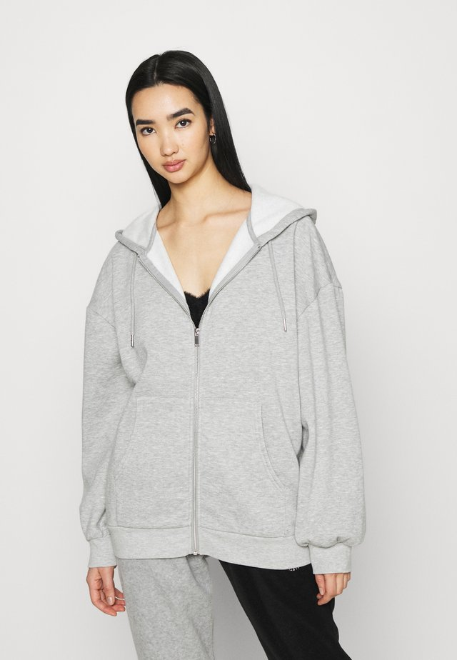 ZIP THROUGH HOODY - Hoodie met rits - grey marl