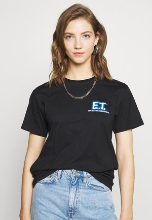 LADIES E.T. LOGO AND SPACE TEE - Print T-shirt - black