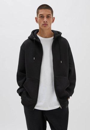 MIT REISSVERSCHLUSS UND KAPUZE - Zip-up sweatshirt - black