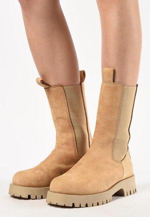 Platform ankle boots - light brown