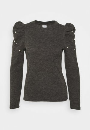 JDYMIE PEARL PUFF SLEEVE - Stickad tröja - dark grey melange
