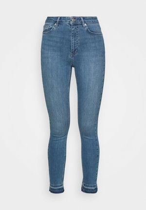 SKINNY HIGH WAIST OPEN HEM - Jeans Skinny Fit - mid blue