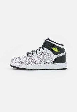 AIR 1 MID UNISEX - Chaussures de basket - white/black/volt