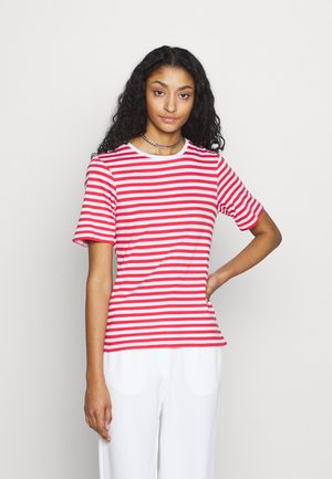STRIPED TEE - Print T-shirt - red/white