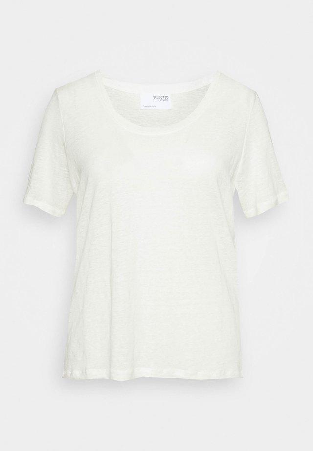 SLFLINE TEE  - Jednoduché triko - snow white