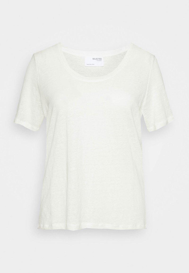Selected Femme Curve - SLFLINE TEE  - Jednoduché triko - snow white