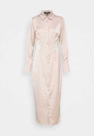 SLIM FIT MIDI SHIRT DRESS - Shirt dress - dark beige
