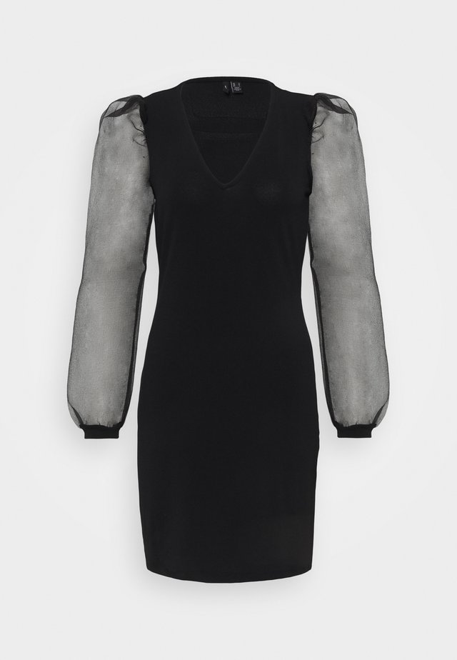 VMALBERTA PUFF V-NECK DRESS  - Jersey dress - black