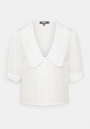 EXAGGERATED COLLAR BUTTON THROUGH BLOUSE - Blouse - white