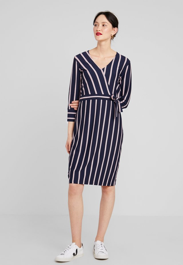 Jersey dress - blau/ecru/weiss