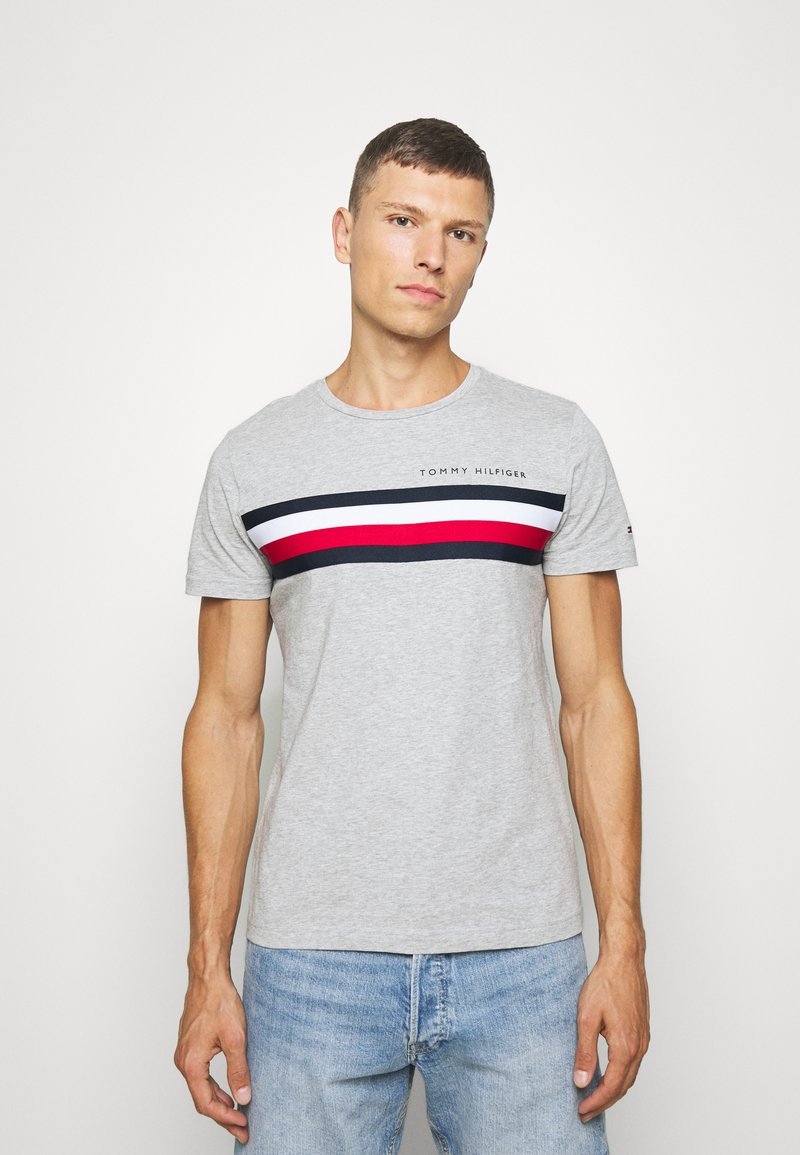Tommy Hilfiger - GLOBAL STRIPE TEE - T-shirt con stampa - grey