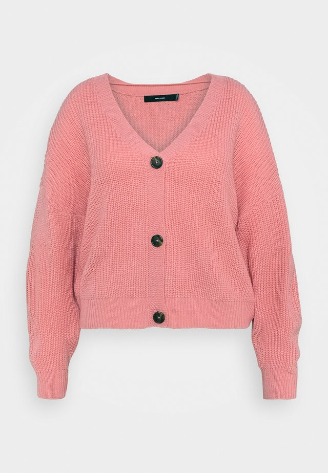 VMLEA V NECK CARDIGAN - Cardigan - geranium pink