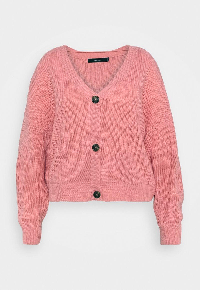Vero Moda Curve - VMLEA V NECK CARDIGAN - Cardigan - geranium pink