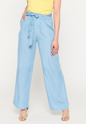 WITH BELT AND BOW - Trousers - light blue