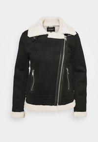 ONLY - ONLDIANA BONDED AVIATOR JACKET - Faux leather jacket - black/white - 6