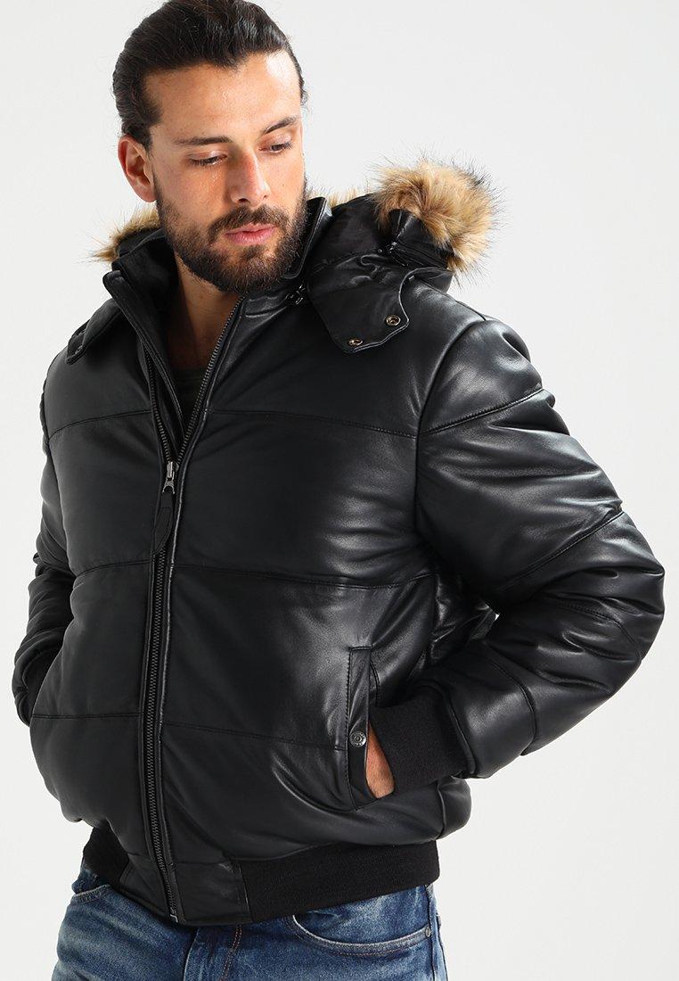 Homme Veste en cuir - black