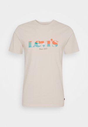 GRAPHIC CREWNECK TEE - Print T-shirt - neutrals
