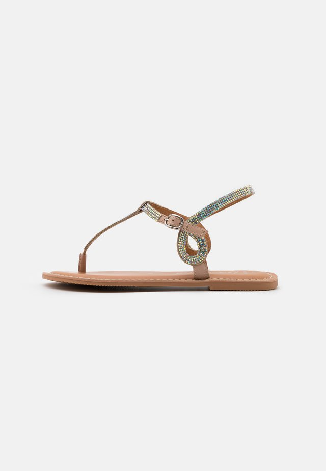 WIDE FIT GLITZY - Flip Flops - oatmeal
